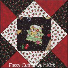 ME Mary Engelbreit Cherries Teapot Fabric Easy Pre-Cut Quilt Blocks Kit