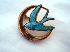 Vintage Brooch  Blue Bird Sparrow  like flying Jay hunger games..