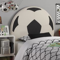 Upholstered Soccer Ball Twin Headboard #dynamichome #dynamic_home #soccer #soccerball #headboard #twin #kids #teens #bedroom