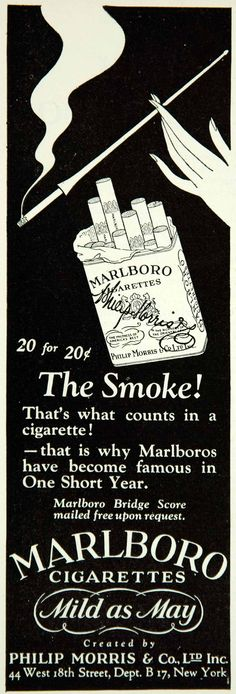 1927 Ad Marlboro Cigarette Philip Morris Smoke Tobacco Woman Pack Holder Fashion