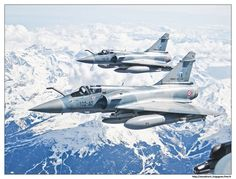 A pair of Mirage 2000-5 soars above the French Alps