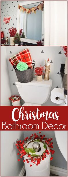 Christmas Bathroom Decor Fun and simple holiday decor that you can use in the bathroom to create a festive area for guests during Christmas. Christmas Gift Tags, Christmas 2017, Christmas Holidays, Christmas Crafts, Simple Christmas, Winter Holidays, Christmas Lights, Christmas Ideas, Christmas Ornaments