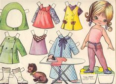 Almost the same paper doll that my mom had. A lot of summer afternoon paper dress creations when I was a little girl Kirigami, Paper Art, Paper Crafts, Dress Illustration, Paper Dolls Printable, Vintage Paper Dolls, Felt Dolls, Illustrations, Paper Toys