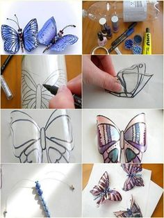 - Bottle Crafts - Make Butterfly Decorations Using Plastic Bottles - Find Fun Art Projects to Do a. Make Butterfly Decorations Using Plastic Bottles - Find Fun Art Projects to Do at Home and Arts and Crafts Ideas. Water Bottle Crafts, Plastic Bottle Flowers, Plastic Bottle Crafts, Plastic Art, Recycle Plastic Bottles, Cool Art Projects, Arts And Crafts Projects, Crafts To Make, Diy Crafts