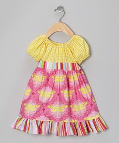 Take a look at this Yellow Dragonflies Patty-Cake Dress - Toddler & Girls by Beary Basics on #zulily today!