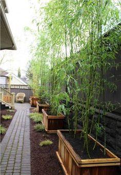 bac-fleurs-bois-DIY-bambou-jardin-allée-pavés