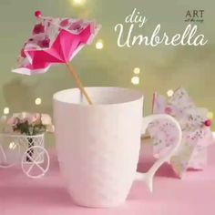 By: Twenty-one Art de origami 5 Min Crafts, Diy Home Crafts, Creative Crafts, Crafts For Kids, Creative Ideas, Diy Origami, Paper Crafts Origami, Origami Umbrella, Pink Umbrella