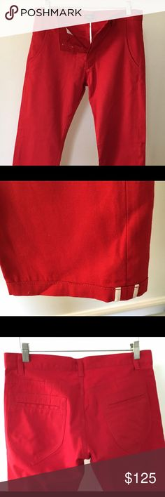 SUPER Rare Cloak by Alexander Plokhov Red Slim Pnt This label is no longer in production. Gorgeous lightweight red pant. Sz 30 with 31 inseam. The pocket detail and leg opening details are so good!! Can easily be worn by women too. Very slim through thighs. Alexandre Plokhov Pants Chinos & Khakis