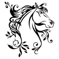 20*22.4 СМ Красивая Лошадь С Цветами Стикер Автомобиля Свежий Животных Шаблон Автомобилей Стайлинг Наклейка Черный/Серебристый S1-2014