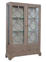 Timeless Classics Soho Display Cabinet Manor Taupe/Wash finish with Manor Porch Rail interior on wood cabinet. Two removable glass shelves. Glass Shelf Brackets, Glass Wall Shelves, Glass Shelves Kitchen, Refacing Kitchen Cabinets, Wood Cabinets, Display Shelves, Tall Cabinets, Curio Cabinets, Display Cabinets