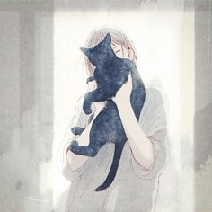 No automatic alt text available. on We Heart It - รูปภาพ cat and anime - Anime Art Girl, Manga Art, Anime Guys, Anime Cat, Manga Anime, Art And Illustration, Illustrations, Room Deco, Anime Scenery