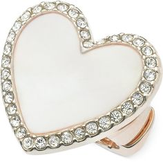 GUESS Rose Gold-Tone Pavé Mother-of-Pearl Heart Stretch Ring
