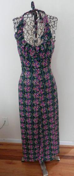 Vintage Arpeja Maxi Dress - Backless Halter Dress - Floral Long Dress 1960's by momsfavoriteshop on Etsy