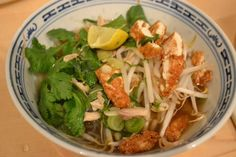 Vegetarian Pho - we put our own veggies in the broth (green onion, bok choy, basil, bean sprouts, mushrooms, lime) but the broth base is the star of the show. We peeled the onion and shallot, used 1/4 t of Chinese 5 spice powder instead of the anise pod, 1/4 t ground cloves instead of whole and 6 C of vegetable stock. Winner!