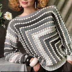 Crochet Womans Bobble Sweater Pullover with long Sleeves /OhhhMama/ Vintage Pattern Instant Downloa Women Leaf Yoke Sweater Crochet Pattern with graphs / charts, schematic,some step pictures and a video for joined as you go Gilet Crochet, Crochet Cardigan Pattern, Crochet Blouse, Knit Crochet, Crochet Woman, Crochet Tops, Crochet Gifts, Crochet Baby, Knitting Patterns