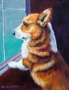 Pembroke Welsh Corgi Giclee Fine Art Print on by DogArtByLyn