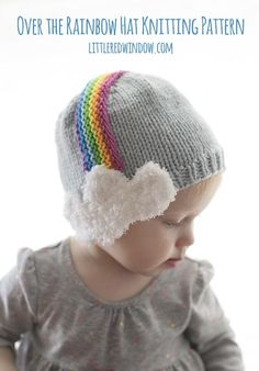 """The Over the Rainbow Hat Knitting Pattern is the most adorable rainbow hat ever. With a cute rainbow headband and incredibly adorable fluffy cloud earflaps, this hat will charm passersby and keep your little one nice and warm in chilly spring."""