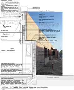 Image 19 of 51 from gallery of 50 of the Best Facade Construction Details. Facade detail Stars Engineers administrative building and factory Detail Architecture, Minimal Architecture, Architecture Board, Architecture Drawings, School Architecture, Contemporary Architecture, Landscape Architecture, Planer Layout, Construction Drawings