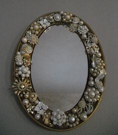 Rhinestone Wall Mirror large vintage embellished deco jewelry wall mirror rhinestone