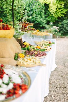 Peach blooms, lavender gowns, and a beautiful blushing Bride set the scene for this Tuscany countryside castle affair. Italian Wedding Foods, Italian Weddings, Italian Theme, Plan My Wedding, Wedding Planning, Wedding Ideas, Wedding Food Stations, Food Themes, Italy Wedding