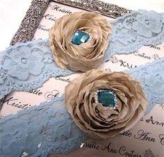 Vintage Style Champagne Flower and Blue Lace Garter Set #wedding #advantagebridal