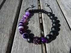 Yin Yang Purple Stripped Agate and Matte Black Agate Shamballa Bracelet