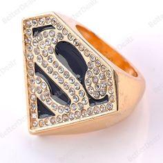 1PC Black Enamel Crystal Superman Logo Golden Punk Finger Ring US 6 Korean Vogue