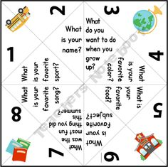 Getting to Know You Back to School Paper Quizzers (Cootie Catchers) FREE Great website for teachers teachers ideas teachers www.teacherspayte The post Getting to Know You Back to School Paper Quizzers (Cootie Catchers) FREE appeared first on School Diy. School Games For Kids, First Day Of School Activities, Kindergarten First Day, School Ideas, School Ot, Kindergarten Graduation, School Lunches, School Projects, Get To Know You Activities