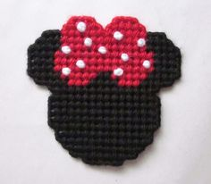 Minnie Mouse silhouette magnet in plastic canvas (red). $3.00, via Etsy.