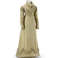 Regency style from 1820 Walking dress and spencer in light brown silk.
