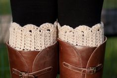 scalloped socks with brown leather boots