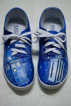 "Hand Painted Doctor Who shoes from ""Fay's Custom Shoes"" Etsy Store."
