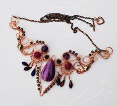 Mystic Lady Belly Dancer Necklace Wire Wrap Purple Agate Glass Crystals Feminine #Jeanninehandmade #Wrap