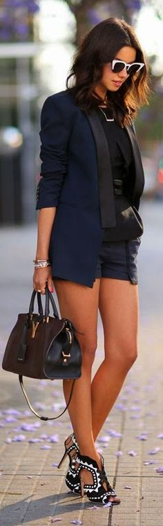 Not digging the shoes with this particular outfit. Love the blazer with the shorts!