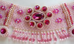 """hadas.spring_colors, via Flickr: Swarovski crystals and pearls combining pink, gold and fuchsia. This necklace created for the Etsy Beadweaver's Challenge (EBWC) for Sept. The theme is """"Bollywood."""" The Bollywood style includes large jewelry, with large gem stones, gold and bright colors. This necklace is a tribute to this style."""