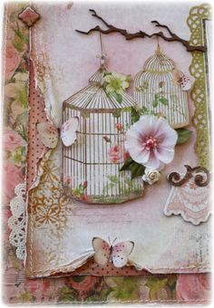 shabby chic birdcage and branch card