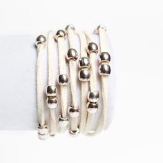 cream suede wrap $20 | www.busywrist.com #bracelets #busywrist