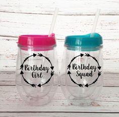 Birthday Girl Bev2Go Tumblers -  Birthday Squad Bev2Go Wine Tumblers - Birthday Cups - Birthday Weekend Wine Tumblers - Best Friend Birthday by SimplyGracefulDesign on Etsy