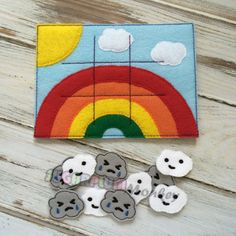 Rainbow Tic Tac Toe Felt Board and Pieces with by SugarPlumMonkey, $13.00