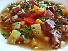 The Pichelsteiner Bavarian Stew is a classic Bavarian stew and you will love it! It is an authentic German Bavarian recipe using 3 different meats. Bavarian Recipes, Amish Recipes, Whole 30 Recipes, Pork Recipes, Cooking Recipes, German Recipes, Bavarian Food, French Recipes, Chicken Recipes