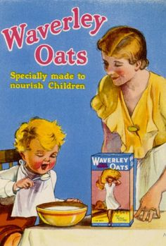 WAVERLEY OATS EATEN from Prints-online: Beautiful posters, prints and merchandise with a historical theme., Adverts and Posters c/o Media Storehouse: Wall Art, Prints and Photo Gifts Vintage Food Posters, Vintage Ads, Vintage Antiques, Retro Recipes, Vintage Recipes, Bird's Custard, Beautiful Posters, Pet Birds, Framed Prints