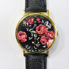 Vintage Red Roses on Black Watch, Floral Watch, Leather Watch, Women Watches, Boyfriend Watch, Ladies Watch