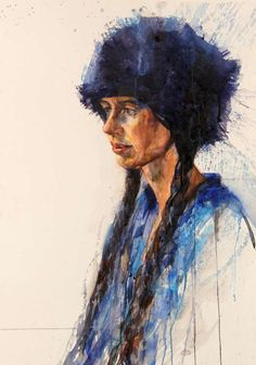 Watercolour portrait by Sky Arts Portrait Artist of the Year finalist, Aine Divine. #portraitpainting #watercolour_portrait #blue #hat #winter #watercolourworkshop #paintingworkshop #portraitartist