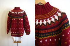 vintage 90s GAP wool fair isle sweater / burgundy by detroitdolly, $38.00
