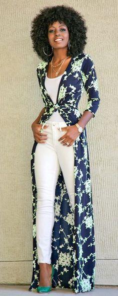 #spring #outfits Black Printed Kimono + White Tank + White Jeans