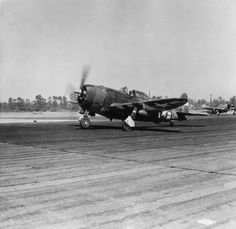 """supermarketsecurity: """" P-47 Thunderbolt of the 406th Fighter Group prepares for takeoff """""""