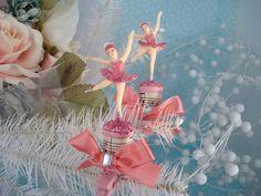 Gorgeously girly, vintage, shabby chic sweet ballerina Christmas ornament