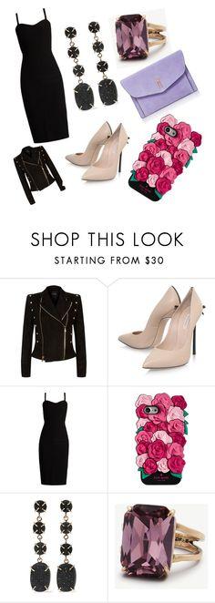 """glam party outfit 🍸🍸🍸🌠"" by yatsina ❤ liked on Polyvore featuring Balmain, Casadei, MaxMara, Kate Spade, Melissa Joy Manning, Ann Taylor and Hayward"