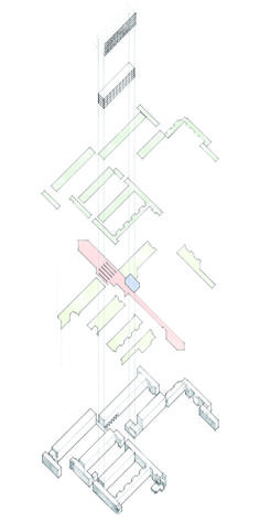 Axonometric Sketch - Housing Competition - A mixed use / housing competition entry looking at re-vitalising existing building stock. Mixed Use, Sketch Drawing, Competition, Map, Architecture, Drawings, Building, Buildings, Sketch
