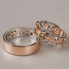 bands couples His and Her Wedding Bands, Rose Gold Wedding Rings, Unique Wedding Ring Set Wedding Ring Sets Unique, Wedding Rings Sets His And Hers, Wedding Rings Rose Gold, His And Hers Rings, Wedding Rings Simple, Celtic Wedding Rings, Matching Wedding Bands, Gold Diamond Wedding Band, Unique Rings
